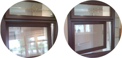 two varying examples of tilt and turn windows, the first opening from the bottom and the second opening from the side.